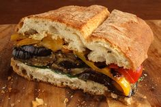 Pressed Eggplant and Pepper Sandwich