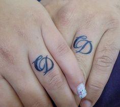 script initials as wedding band tattoos