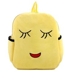 Let your little one express himself with this adorable backpack featuring a shy emoji face. Sporting a super-soft feel, this plush backpack offers all-day comfort with adjustable straps and two cup ho