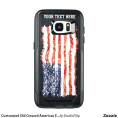 Customized Old Creased American Flag OtterBox Samsung Galaxy S7 Edge Case