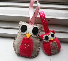 Mother/Daughter Owls for Mother's Day by virginialongo on Etsy, $12.00 - would great on the Christmas tree.