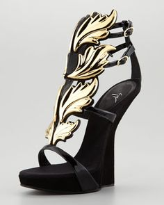 Its a #Myth #Black#Patent Leather and Suede Sandals with #Gold #Leaf Detail by #Giuseppe #Zanotti at Neiman Marcus.