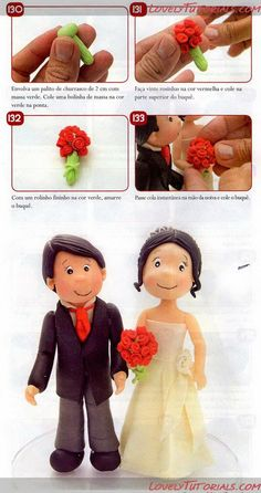 Bride & Groom Tutorial - not in English but really good pictures