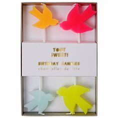 Meri Meri Toot Sweet Bird Candles: These beautiful party candles will create a perfect display on your special cake or cupcakes. They come in bright neon colors in the style of flying birds. The wicks are placed on the upper wing tips.