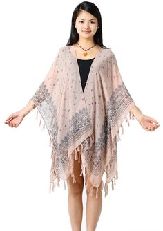 NISHAER Women's Gypsy Love Tribal Tassel Swimwear Kimono Cover Ups Light Pink at Amazon Women's Clothing store: