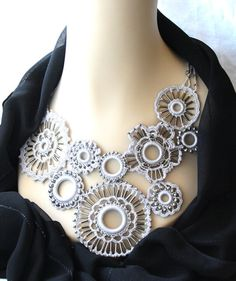 Gray Crocheted Necklace