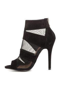 black mesh heel