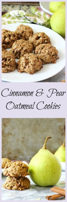 Cinnamon & Pear Oatmeal Cookies - Thick, chewy, big oatmeal cookies with chunks of fresh pear and a hint of spicy cinnamon. Tastes like a mini pear pie. This is and easy one bowl cookie that are low calorie, dairy-free and full of Fall flavor. Great after school snack.