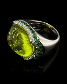 Lemon Quartz Ring, Diamonds, Tzavorite