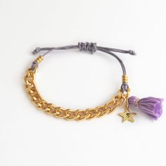 Personalized teen bracelet with chain and tassel by LeiniJewelry