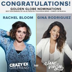 Congratulations to Crazy Ex-Girlfriend's Rachel Bloom and Jane The Virgin's Gina Rodriguez on their Golden Globe nominations!  I love these two jajajajajaj Crazy Girlfriend, Crazy Ex Girlfriends, Golden Globe Nominations, Gina Rodriguez, Jane The Virgin, Golden Girls, Golden Globes, Movie Tv, Musicals