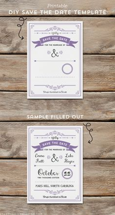 Download and customize this lavender DIY Save the Date Template and then print as many copies as you need! ahandcraftedwedding.com