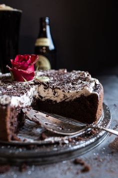 Drunken, Sunken Irish Coffee Chocolate Cake with Salted Bailey's Cream | halfbakedharvest.com @hbharvest