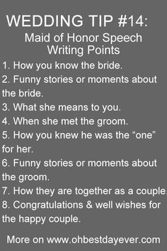 Top 20 Must Read Wedding Tips When Planning Your Big Day maid of honor speech writing points wedding tips Top 20 Must Read Wedding Tips When Planning Your Big Day maid of honor speech writing points wedding tips Wedding Planning Tips, Wedding Tips, Our Wedding, Dream Wedding, Wedding Hacks, Table Wedding, Wedding Stuff, Speech For Wedding, Best Friend Wedding Speech