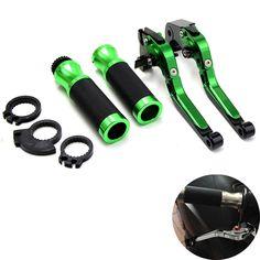 "Motorcycle Brake Clutch Levers&7/8""Handlebar Hand Grips Green For Kawasaki Z800 2013 2014 Z750 07 08 2009 2010 2011 2012"