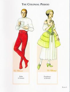 American Family Paper Dolls from the Pilgrim Period to the Civil War by Tom Tierney - Dover Publications, Inc.,2002: Plate 5 (of 60)