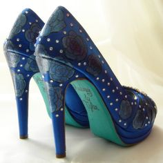 Wedding  Shoes Blue Peep Toes Roses crystals tiffany by norakaren, $275.00