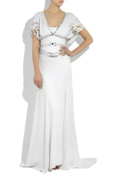 Temperley London white crepe-silk gown has cutout detailing at embellishment, a V-neck, a draped back, a defined waist, draped short sleeves, a satin-lined crepe silk internal slip, a concealed side zip fastening and a small train. 100% silk.