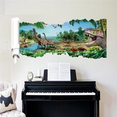 3D Dinosaurs Wall stickers jurassic park home decoration 1461. diy cartoon living room animals print decals mural art poster 4.0