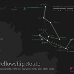 A map showing where the nine Fellowship characters went on Middle Earth in the Lord of the Rings films. To help work out where they were off to at dif