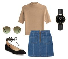 """""""camel"""" by lottie-rose-w on Polyvore featuring Theory, Madewell, Karl Lagerfeld, ROSEFIELD and Ray-Ban"""