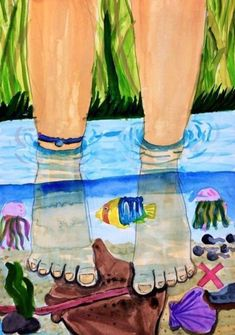 Kindergarten Art Lessons, Art Lessons Elementary, Drawing For Kids, Art For Kids, Summer Art Projects, 8th Grade Art, Jr Art, Art Folder, Middle School Art