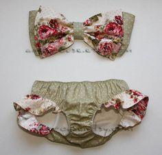 polka dot and floral bow bandeau set