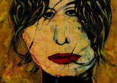 "Saatchi Art Artist CARMEN LUNA; Painting, ""23-RETRATOS Expresionistas. Expectante."" #art http://www.saatchiart.com/art-collection/Painting-Assemblage-Collage/Expressionist-Portrait/71968/51263/view"