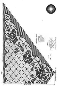 Kira scheme crochet: Scheme crochet no. Filet Crochet, Crochet Shawl Diagram, Thread Crochet, Crochet Scarves, Crochet Motif, Crochet Clothes, Crochet Lace, Crochet Flower, Shawl Patterns