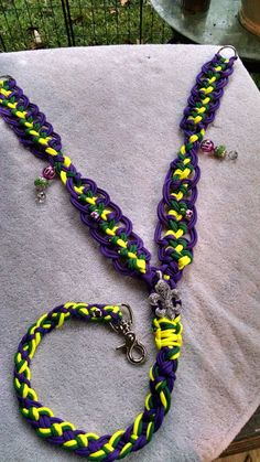 """Show Me Your Horse"" Paracord Mardi Gras Breast Collar (handmade)  https://GypsysEquinePARATack.etsy.com"