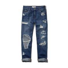 Abercrombie & Fitch Premium Low Rise Boyfriend Jeans ($98) ❤ liked on Polyvore featuring jeans, pants, bottoms, pants/leggings, destroyed medium wash, low-rise boyfriend jeans, light wash ripped boyfriend jeans, distressed jeans, white boyfriend jeans and torn boyfriend jeans