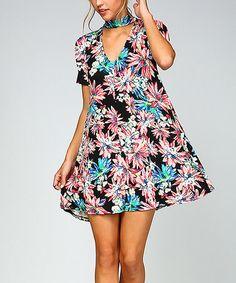 Black Cloral V-Neck Collar Dress #zulily #zulilyfinds