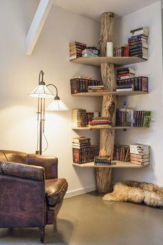 This is a cool concept.. I think I'd like mine a bit more rough and rustic, but the leather chair works so well!