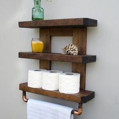 3 Miraculous Clever Hacks: Rustic Floating Shelves How To Build floating shelf diy bathroom.How To Build Floating Shelves Bookcases floating shelves styling fixer upper.Floating Shelf With Drawer Side Tables. Rustic Bathroom Shelves, Rustic Bathrooms, Wood Bathroom, Bathroom Towels, Downstairs Bathroom, Small Bathroom, Bathroom Cabinets, Bathroom Ideas, Rustic Shelves