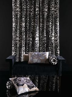 Tanjore collection - Lorca distributed by Osborne & Little www.osborneandlittle.com available from Allium. Gray Interior, Fabric Wallpaper, Fabrics, Curtains, Allium, Monochrome, Collection, Patterns, Home Decor