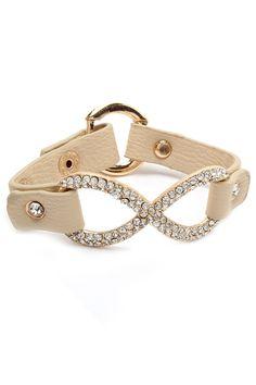 Ivory Crystal Infinity Bracelet//
