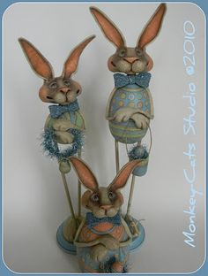Laurie Hardin: Search results for easter Paper Mache Diy, Paper Mache Sculpture, Polymer Clay Sculptures, Pottery Sculpture, Cardboard Art, Bunny Art, Small Sculptures, Victorian Dollhouse, Paperclay