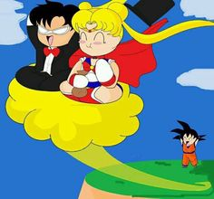 Sailor Moon meets DBZ : Give Goku back his Nimbus you two! ♥