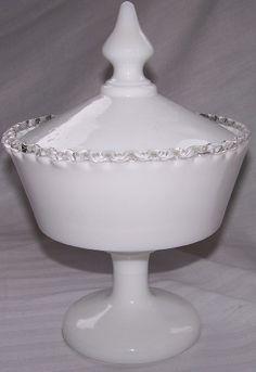 Fenton Silver Crest No 7274 Covered Candy Box Pre Logo             ***SOLD***  http://www.rubylane.com/item/494613-screst13/Fenton-Silver-Crest-No-7274