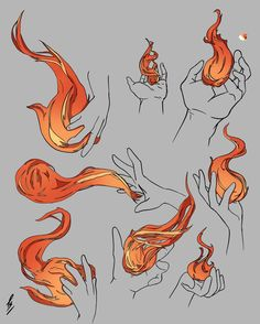 Practicing my comic Flames (reference used for the hands, original flames)
