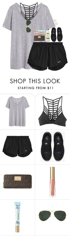 clothes shopping! by hmcdaniel01 ❤ liked on Polyvore featuring HM, RVCA, NIKE, MICHAEL Michael Kors, Too Faced Cosmetics, Ray-Ban, Ippolita and bestiesbacktoschool