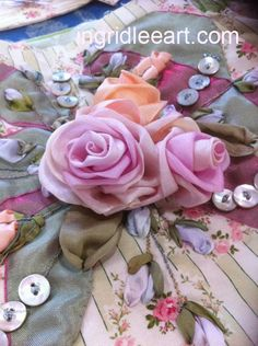 ribbon embroidery | Silk Ribbon Embroidery | Ingrid Lee Art