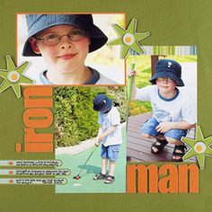 WORK IN THREES TO ACCENT A BOY SCRAPBOOK PAGE
