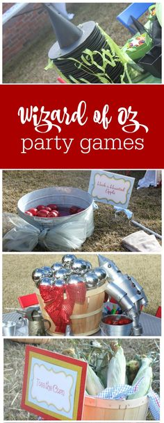 Guest Party: Wizard of Oz Birthday Party Tons of great Wizard of Oz party games for girls and boys The Party Teacher Kids Party Games, Birthday Party Games, Party Activities, 4th Birthday Parties, Birthday Ideas, Kid Parties, 3rd Birthday, Childrens Parties, Mouse Parties
