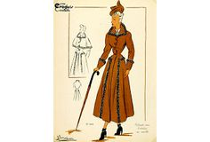 Fashion Lithograph, 1949 on OneKingsLane.com. French color lithograph of fashion sketch, 1949. Signed lower left.