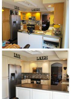 Unique Beige Painted Kitchen Cabinets