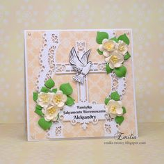 Kartka na bierzmowanie z gołębiem/Card for confirmation Baptism Gifts, Communion, Card Ideas, Diy And Crafts, Place Cards, Scrapbooking, Place Card Holders, Frame, Pictures