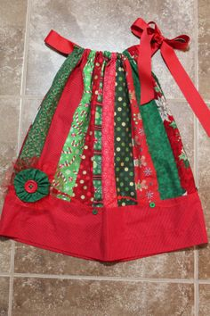 Toddler Girl Christmas Patchwork Pillowcase Dress with Touch of Whimsy
