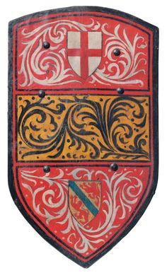 A painted wooden armorial shield, in 14th - early 15th century style The wooden body covered in canvas front and rear, the inner face with iron rings for enarms and straps, the outer face painted with red, yellow and red horizontal bands filled with scrollwork, the upper band bearing a shield charged with the arms of The League of St. George, the lower band with an unidentified coat-of-arms. H.: 94 cm - W.: 54 cm.