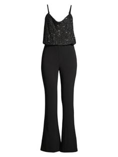 Parker Black Perth Sequined Flared Jumpsuit In Black Black Jumpsuit, Parker Black, Bell Bottom Jeans, Bodice, Perth, Legs, Formal Dresses, Clothes, Kleding